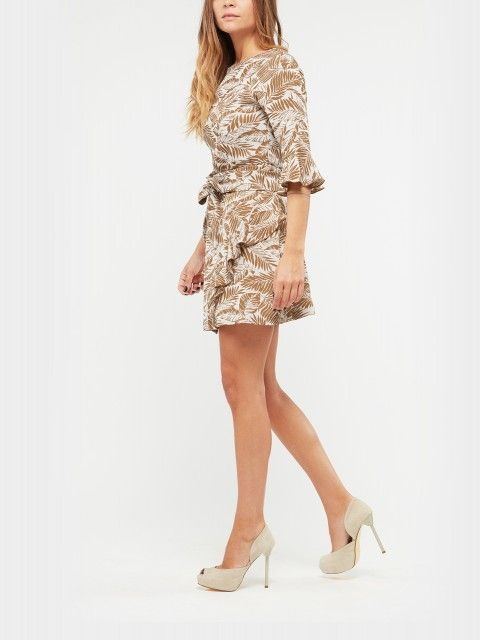 DRESS WITH RUFFLE SLEEVE AND SKIRT