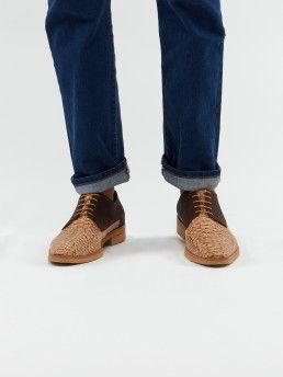 CORK LONG DERBY SHOES WITH ANIMAL PRINT
