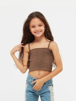 KNIT CROP TOP WITH THIN STRAP