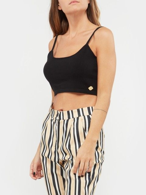 KNIT CROP TOP WITH THIN STRAPS